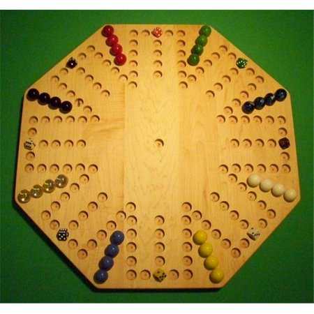 THE PUZZLE-MAN TOYS W-1953 Wooden Marble Game Board - Aggravation - New 22 in. Octagon - 8-Player  6-Hole - Hard Maple