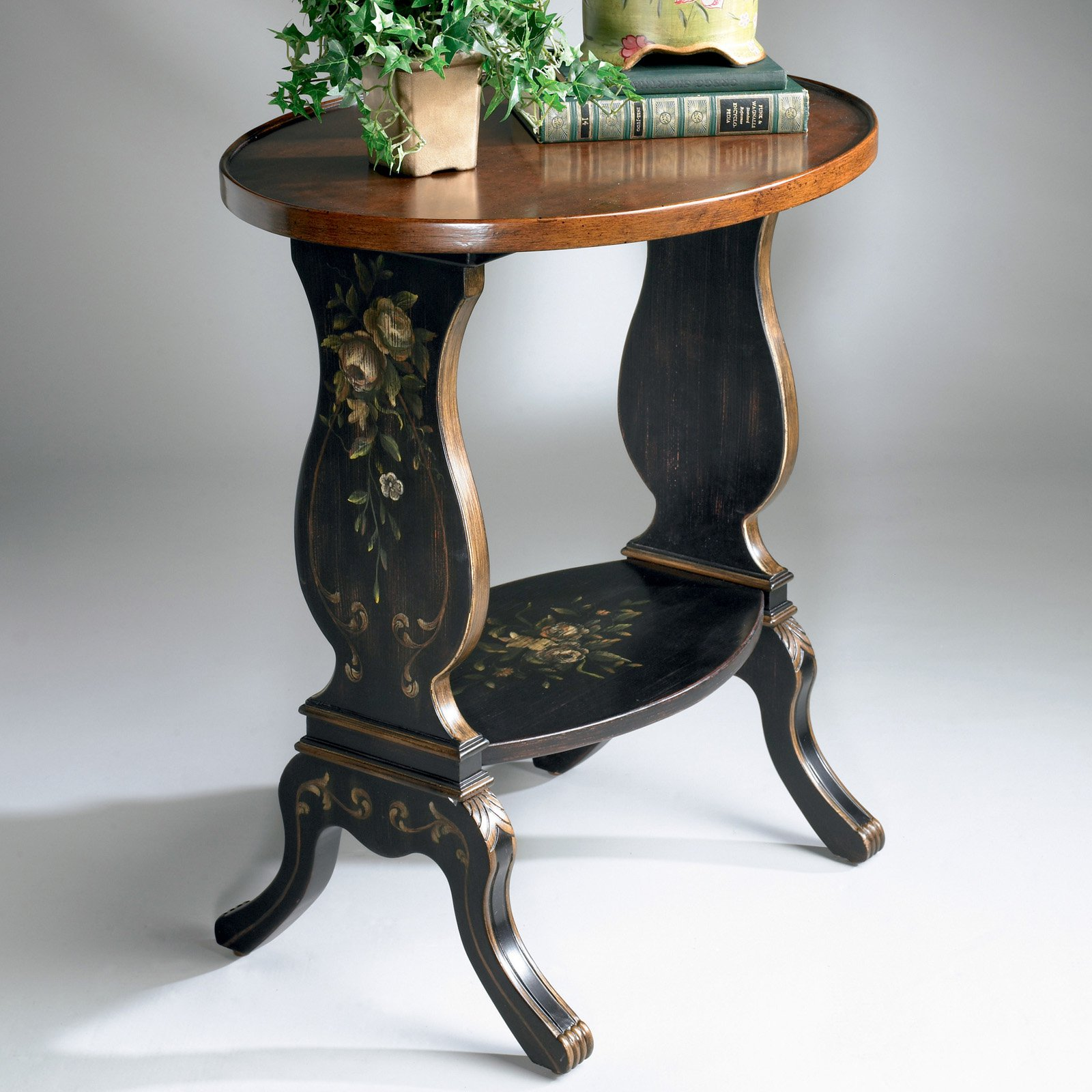 Butler Accent Table 26H in. - Regal Black Hand Painted