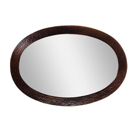 Solid Hammered Copper Framed Oval Mirror in Antique Copper Finish -