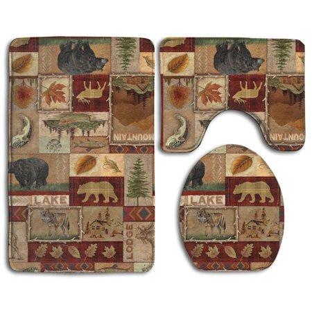 Gohao Rustic Lodge Bear Moose Deer 3 Piece Bathroom Rugs