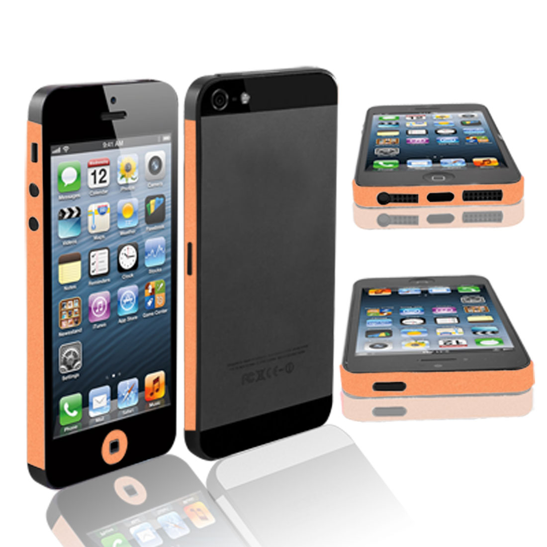 Unique Bargains Orange Vinyl Frame Side Edge Wrap Decal Skin Sticker for iPhone 5 5G 5th