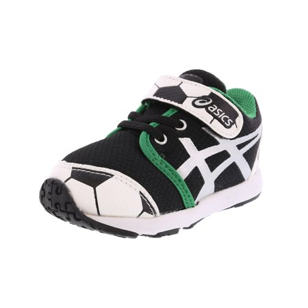 Asics School Yard Ts Soccer Black/Silver Ankle-High Walking Shoe - (Best Shoes For Toddler Soccer)