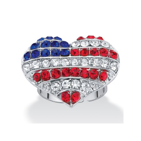 Heart Shaped Crystal Ring (Red White and Blue Crystal American Flag Patriotic Heart-Shaped Ring in Silvertone )