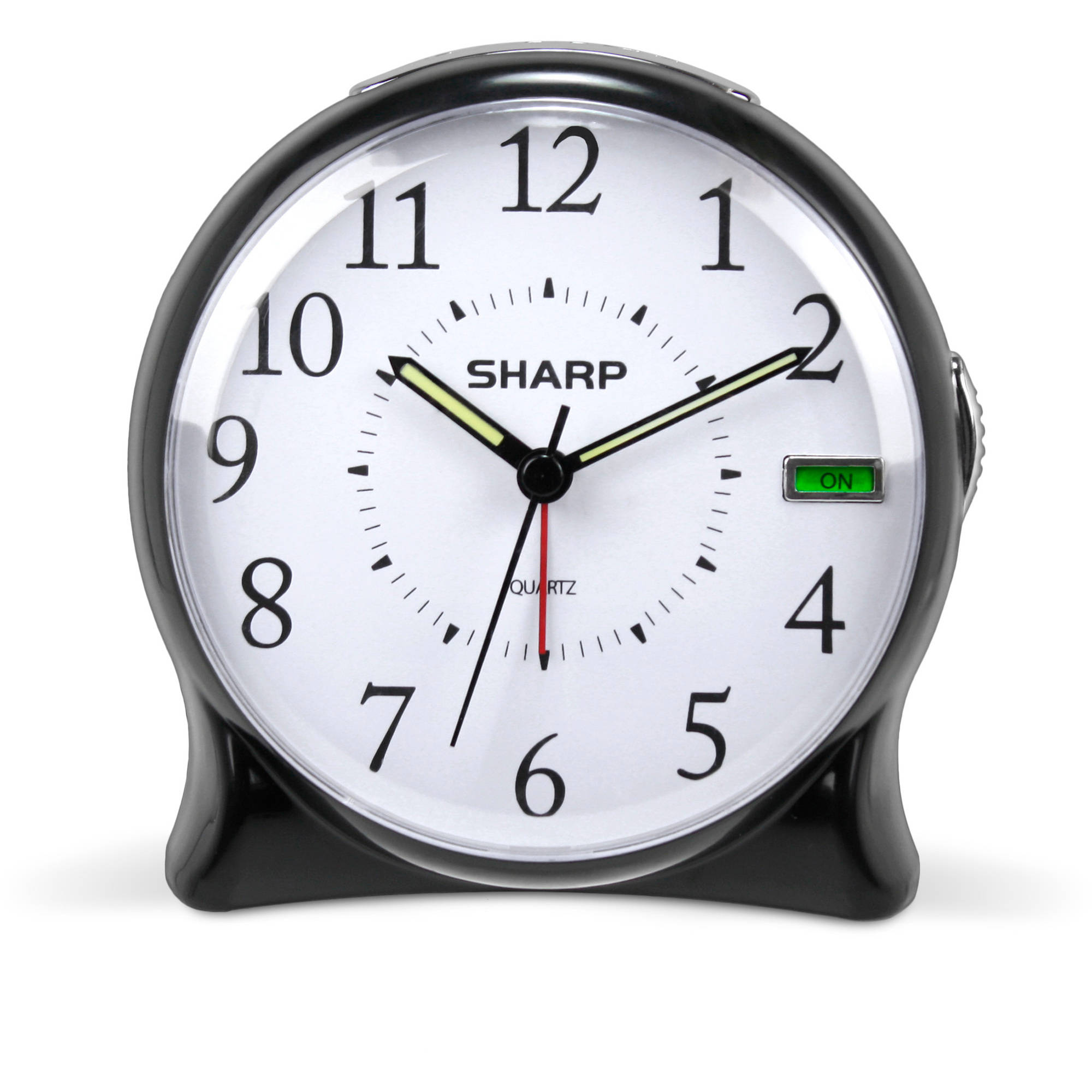 Sharp Quartz Analog Alarm Clock, Black