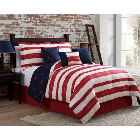 11 Piece Americana Navy Red Ivory Bed In A Bag W 600tc