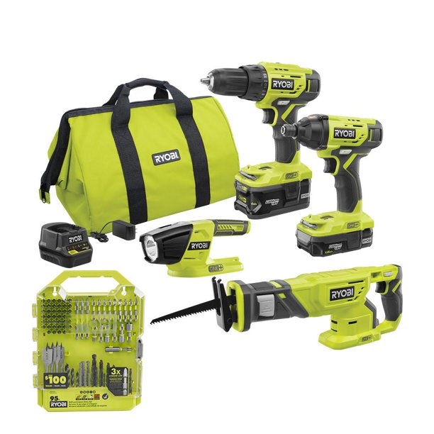 ONE+ 18V Cordless 2-Tool Combo Kit with Drill/Driver, Impact Driver, Batteries, Charger, Bag, and Drill Kit (65-Piece) $89.00
