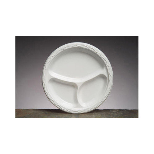 Genpak 10.25'' Aristocrat Plastic Round Plates with 3 Compartments in White
