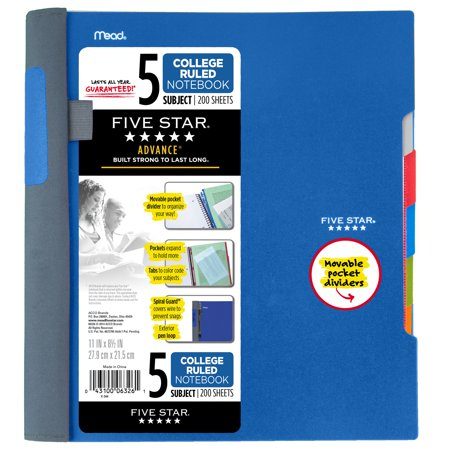Five Star Advance Notebook - 5 Sub, 200ct CR, Blue