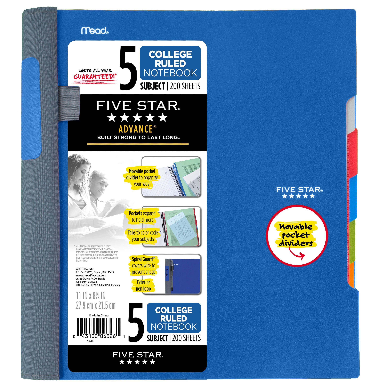 Five Star Advance Notebook - 5 Sub, 200ct CR, Blue