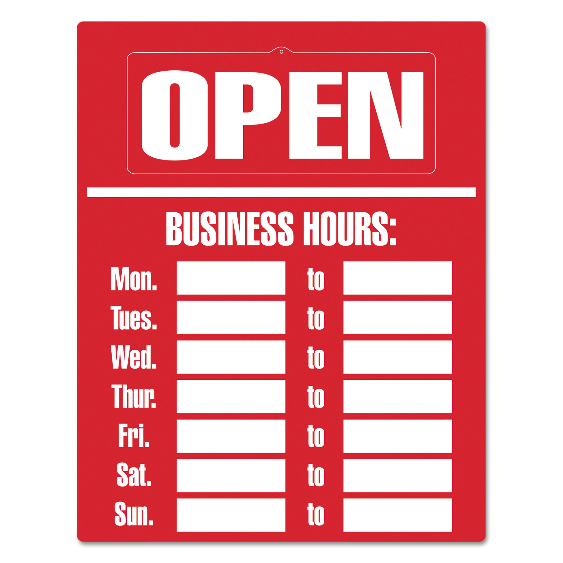 "Cosco® Business Hours Large Sign Kit, 15"" x 19"", 1 each"