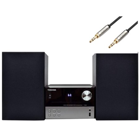 Toshiba Bluetooth Hi-Fi Home Audio Stereo Sound System with Single Disc Cd Player Plus 6ft Kubicle Aux Cable