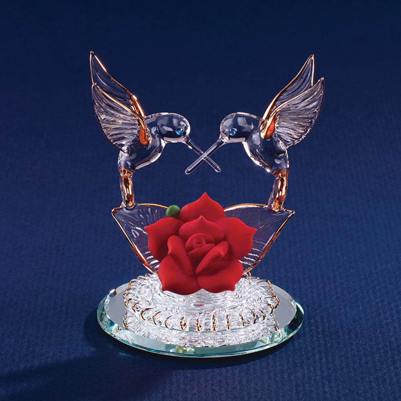 Hummingbirds Red Rose Glass Figurine Floral Garden Nautical Glas Baron For Women