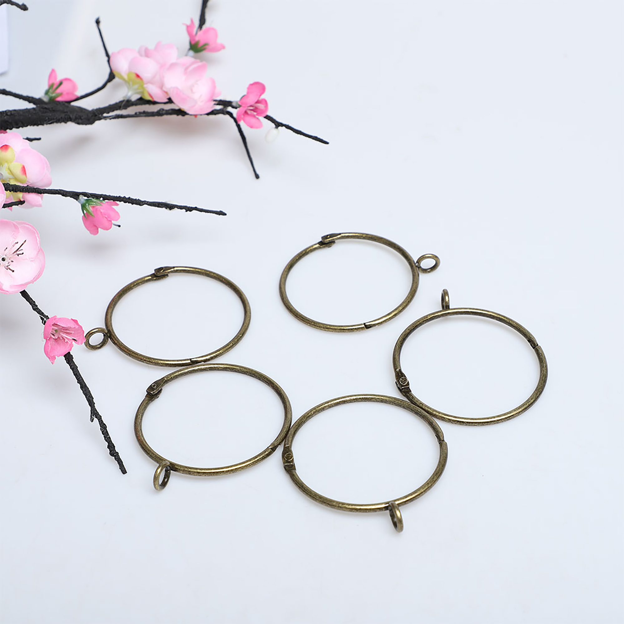 """Rings For Curtain Rods, 2"""" Metal Curtain Ring With Eyelets"""