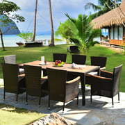 Gymax 9PCS Rattan Patio Dining Set w/ 8 Stackable Cushioned Chairs Wooden Tabletop
