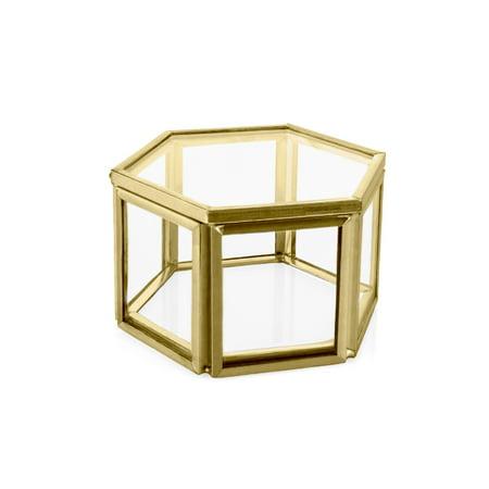 Koyal Wholesale Modern Gold Geometric Hexagon Glass Ring Box, 3 x 1 5 Inch  Terrarium for Proposal, Engagement, Ceremony