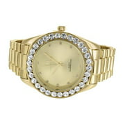 Gold Tone Mens Watch Large Lab Diamonds Bezel Captain Bling Joe Rodeo Elegant