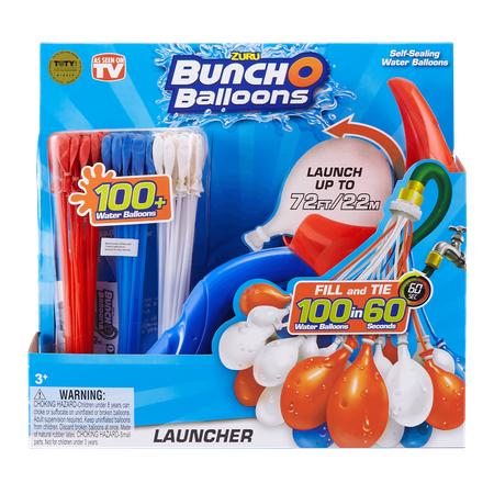 Bunch O Balloons Launcher with 100 Rapid-Filling Self-Sealing Water Balloons (Red, White & Blue) by ZURU