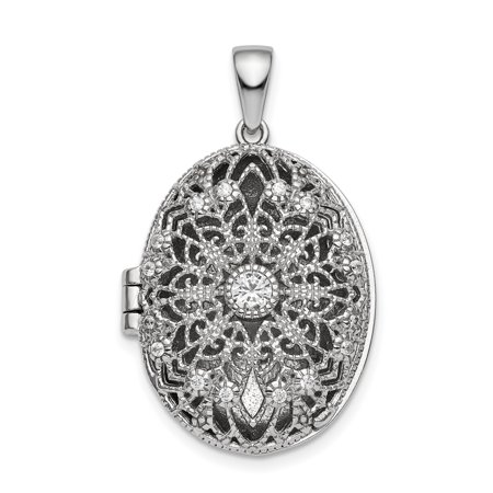 925 Sterling Silver Cubic Zirconia Cz Oval Filigree Photo Pendant Charm Locket Chain Necklace That Holds Pictures Silver Judaica Filigree