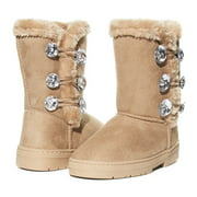 Sara Z Girls Rhinestone Button Faux Fur Lined Mid Calf Fashion Winter Boots 4 Tan/Gold