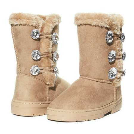 Girls Winter Boots Size 11 Designed with Sparkling Rhinestones and Fur Trims Soft Lightweight Casual Slip-On Mid-High Microsuede Walking Snow Shoes Black/Gold