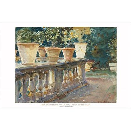Famous Flower - Villa Di Marlia The Balustrade by John Singer Sargent 24x36 Art Print Poster Famous Painting Landscape Flower Pots on Railing