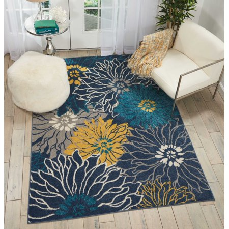 Nourison Modern Collection Area Rug (Nourison Passion Floral Floral Blue Area Rug )