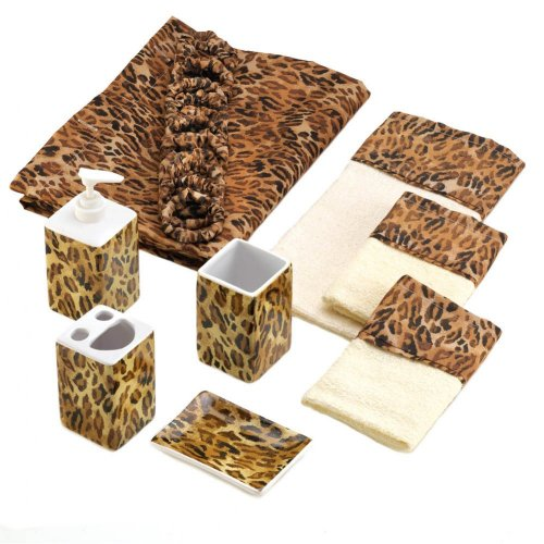 Leopard Print Bathroom Accessories Set Bath Ensemble