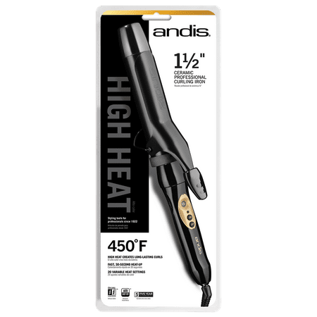 Andis Professional High Heat Curling Iron, Black, 1.5 Inches
