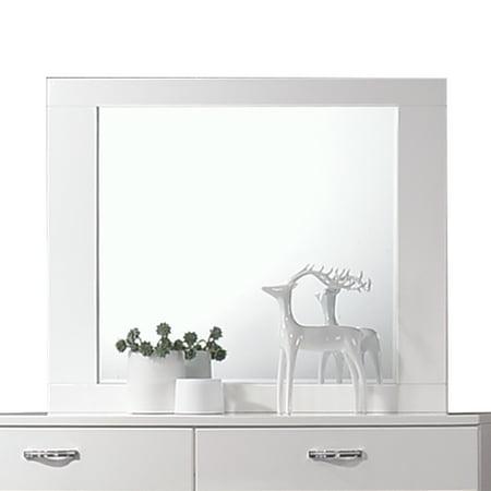 Acme Adair Beveled Dresser Mirror in White Frame (Dresser Contemporary Mirror)