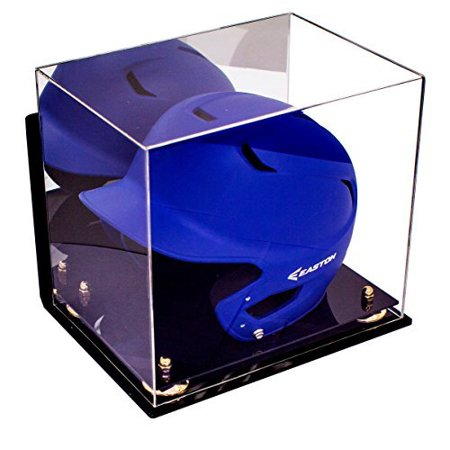 Deluxe Acrylic Baseball Batting Helmet Display Case with Gold Risers Mirror and Wall Mount (A012)