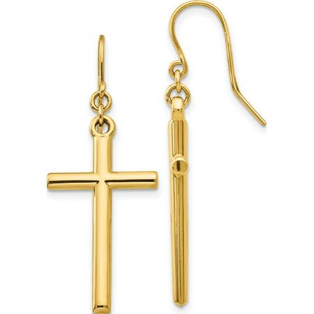 14k Boucles d'oreilles Croix or jaune Shepherd Hook Dangle (14x36mm) de - image 3 de 3