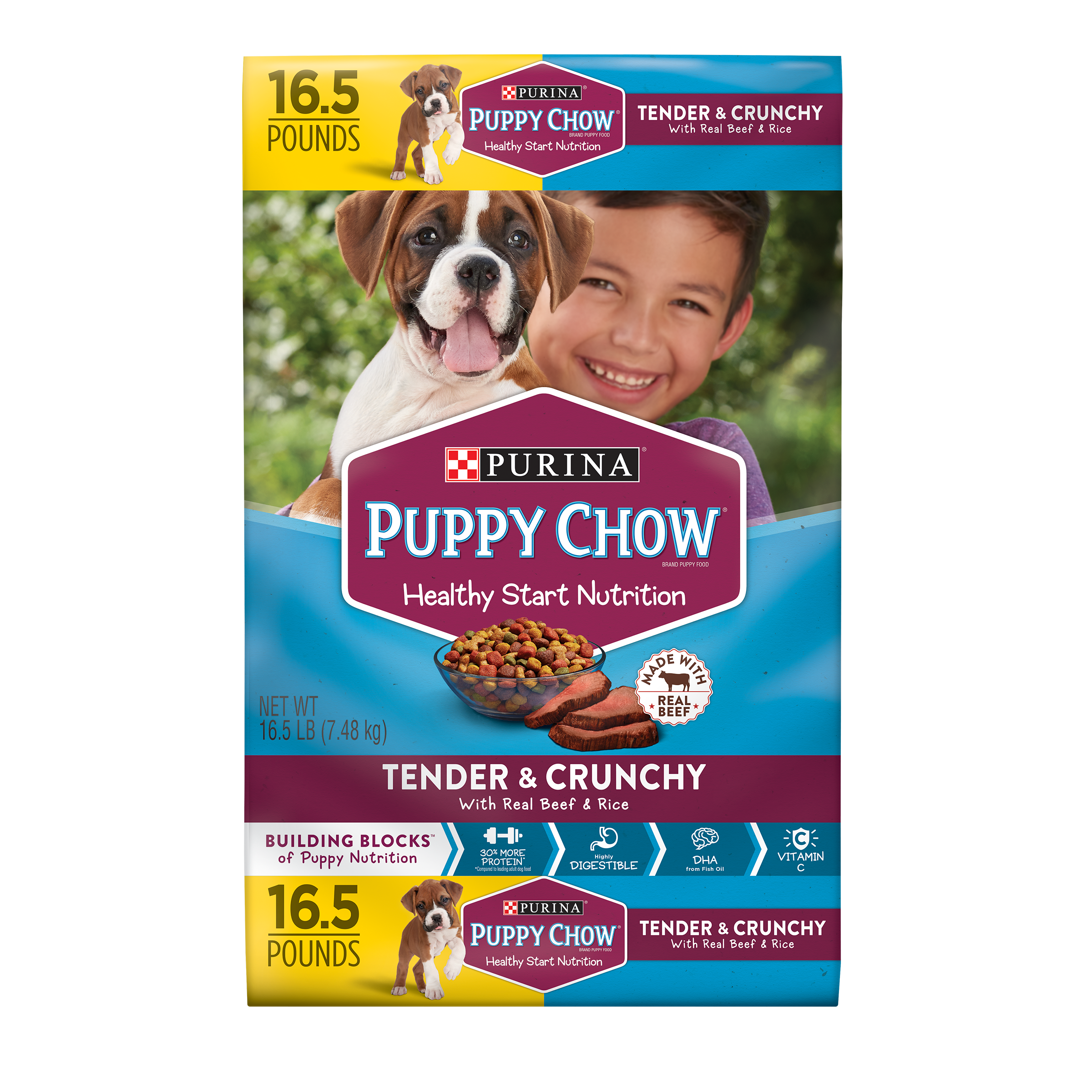 Purina Puppy Chow High Protein Dry Puppy Food; Tender & Crunchy with Real Beef - 16.5 lb. Bag
