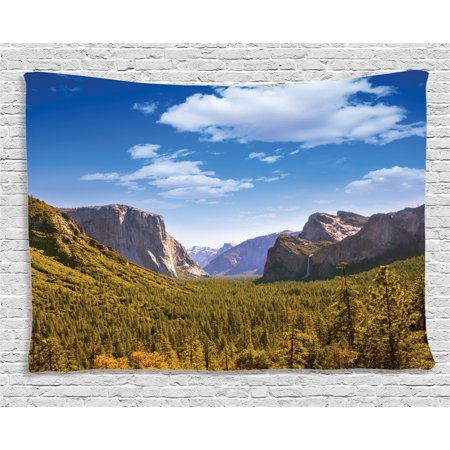Farm House Decor Tapestry, Yosemite El Capitan and Half Dome California National Parks US Summer View, Wall Hanging for Bedroom Living Room Dorm Decor, 80W X 60L Inches, Green Blue, by (Brock California Farmhouse)