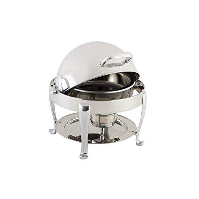 Bon Chef 19014ch Stainless Steel Pee Round Chafing Dish With Roman Legs Chrome Trim Finish