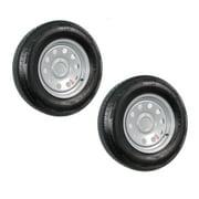 2-Pack Trailer Tire On Rim ST205/75R15 205/75 Radial 5 Hole Modular Wheel Silver