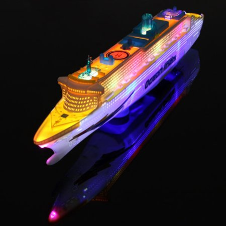 Ocean Liner Cruise Ship Boat Electric Toy Gift Flash LED Light Sound Kid Child Children Flashing Light & Sound - Kids Wooden Boat