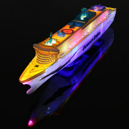 Ocean Liner Cruise Ship Boat Electric Toy Gift Flash LED Light Sound Kid Child Children Flashing Light & Sound US