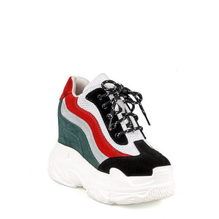1d51d3a695f Anthony Wang - Anthony Wang Colorblock Women s Platform Sneakers in Black -  Walmart.com
