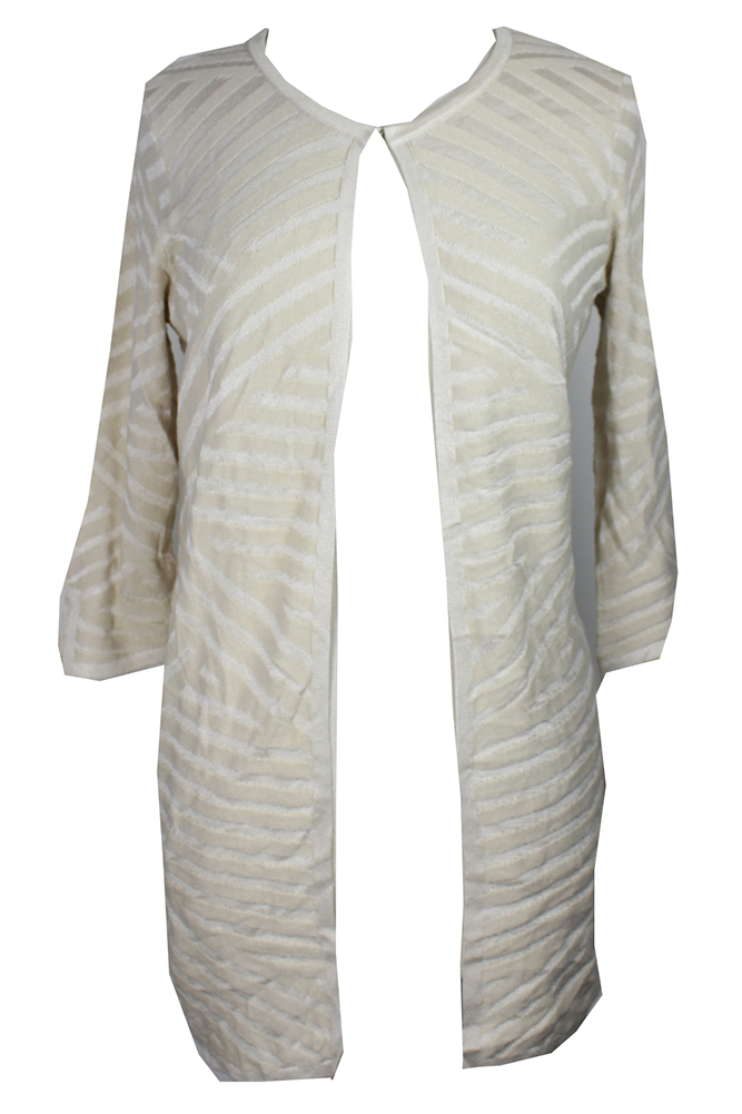 Jm Collection Petite Stone White Combo Textured Flyaway Cardigan PXL