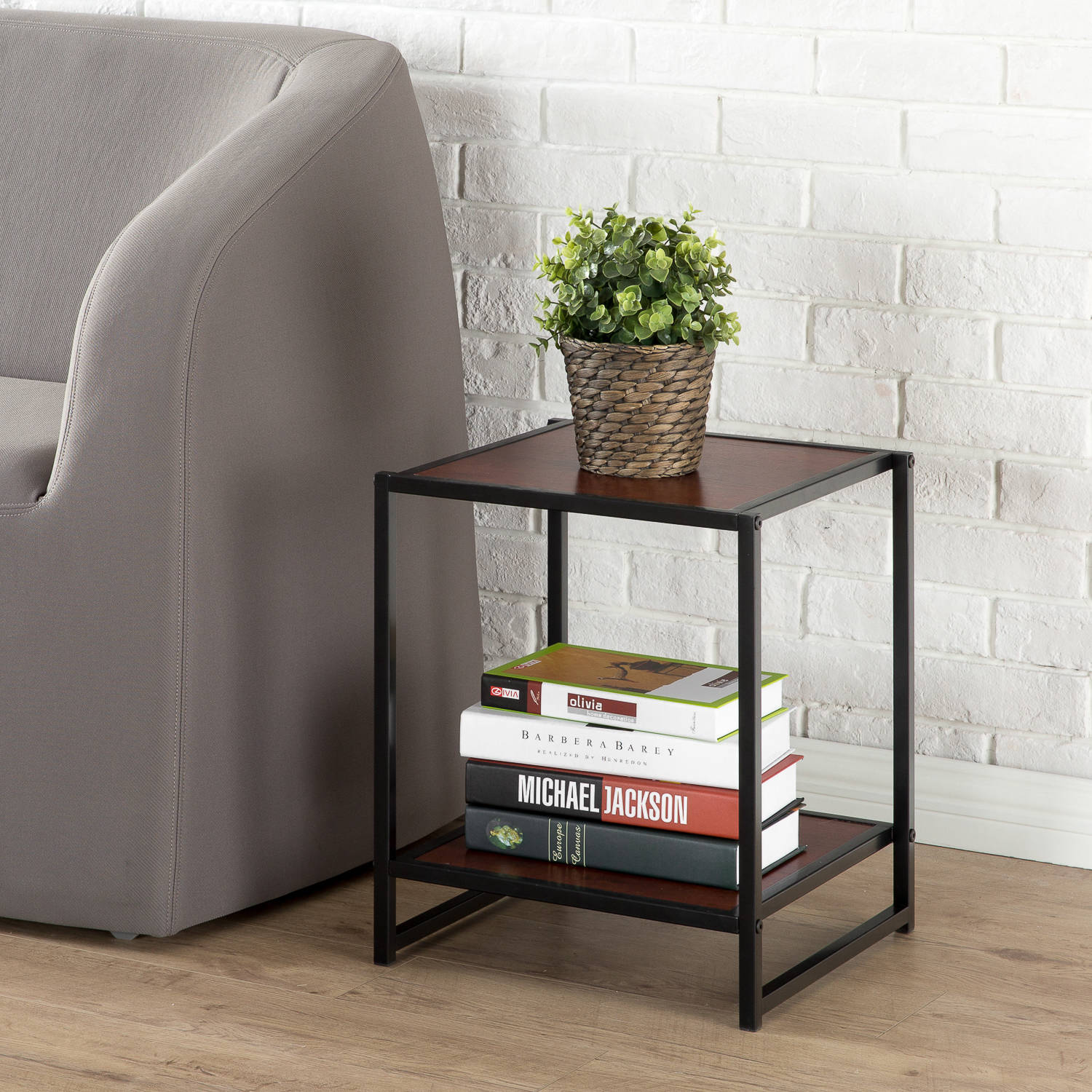 "Zinus Priyanka Modern Studio Collection 15"" Square Side/End Table/Night Stand/Coffee Table, Brown"