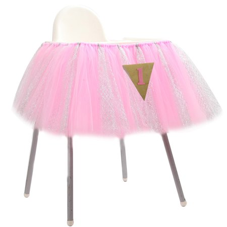 1st Birthday Baby pink Tutu Skirt for High Chair Decoration for Party - Baby Birthday Supplies