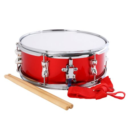 Colorful Fashion Jazz Snare Drum Set Student Steel Shell Percussion Instrument with Drum Sticks Adjustable Strap Musical Toy for Children Kids (Red)
