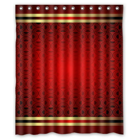 HelloDecor Clasic Elegant Grace Red Background Grace Shower Curtain Polyester Fabric Bathroom Decorative Curtain Size 60x72 Inches