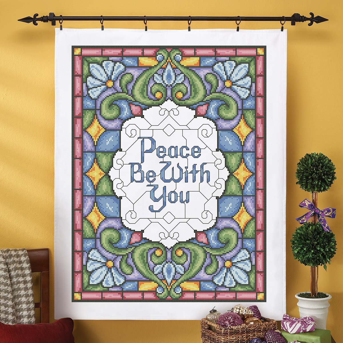 Herrschners® Peace Be With You Lap Quilt Top Stamped Cross-Stitch Kit