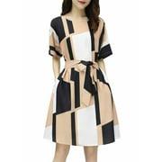 Funcee Korean Women Waist Tie Bow Slim Mini Plaid Dress