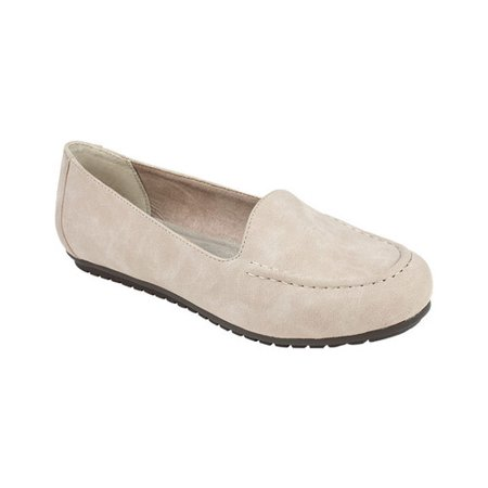 Women's Cliffs by White Mountain Darina Moccasin Light Taupe Smooth Sueded Polyurethane 8.5 M