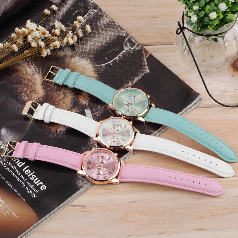 White Women Girl Roman Numerals Faux Leather Analog Quartz Wrist Watch Stylish