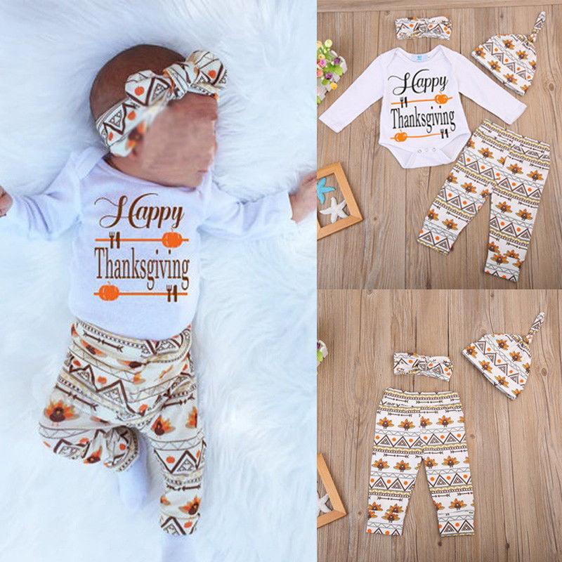 4PCS Newborn Baby Girl Boy Valentine/'s Day Romper Zebra-Stripe Pants Hat Outfits