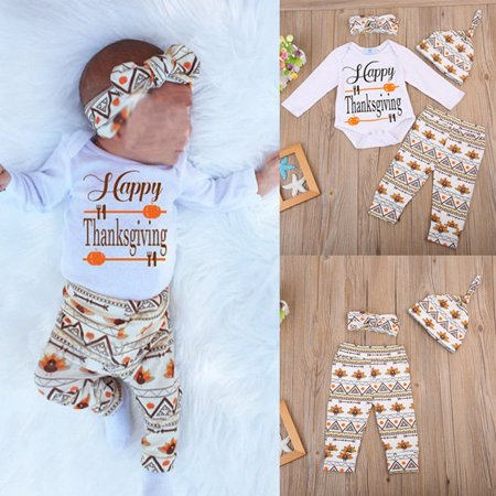 Cute Thanksgiving Outfits For Women (Thanksgiving Newborn Baby Boy Girl Outfits Clothes Romper+Pants+Hat 4pcs)