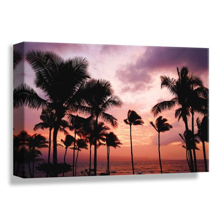 B2T Palm Tree Sunset Avenue, Glory Afternoon, Design Pick by Winifred, Canvas Wrap - 24x36 inches